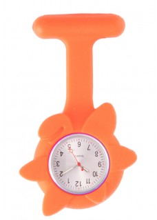 Montre Infirmière Printemps en Silicone Fleur Orange
