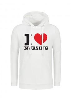 Hoodie i Love Nursing Blanc