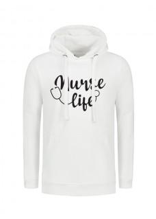 Hoodie Nurse Life Blanc