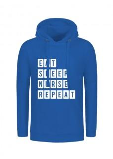 Hoodie Eat Sleep Nurse Repeat Bleu