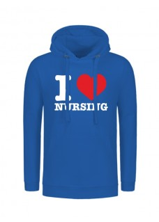 Hoodie I Love Nursing Bleu