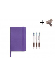 Set Cahier A5 + Stylos Violet