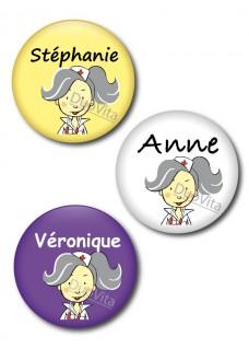 Badge Pins Infirmière Cheveux Gris