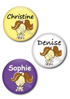 Badge Pins Infirmière Brunette