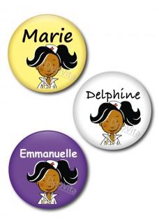 Badge Pins Infirmière Cheveux Noir