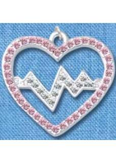 Pendentif Battement de Coeur Argent-Rose grand