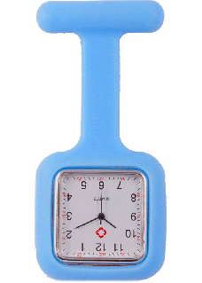 Montre Infirmière Carré en Silicone Bleu