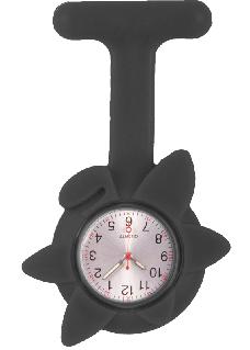 Montre Infirmière Printemps en Silicone Fleur Noir