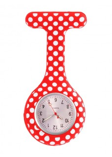 Montre Infirmière en Silicone Polka Dots Rouge