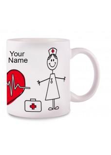 Tasse Stick Nurse avec Nom Imprimé