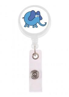 Porte Badge Enrouleur Éléphant Bleu
