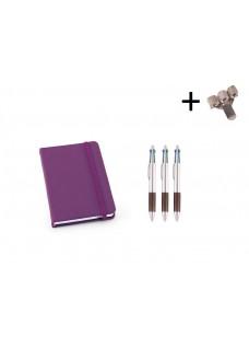 Set Cahier A6 + Stylos Violet