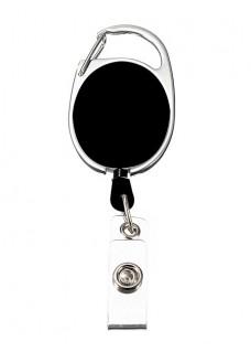 Porte Badge Enrouleur Mousqueton Noir