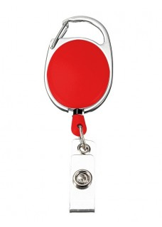 Porte Badge Enrouleur Mousqueton Rouge