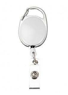 Porte Badge Enrouleur Mousqueton Blanc
