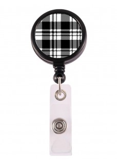Porte Badge Enrouleur Tartan Noir