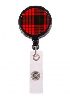 Porte Badge Enrouleur Tartan Rouge