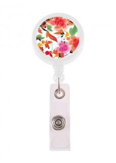 Porte Badge Enrouleur Asian Flowers