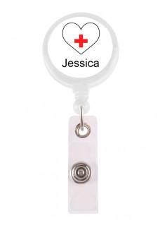 Porte Badge Enrouleur Coeur Blanc avec Nom Imprimé