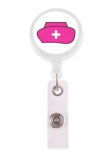 Porte Badge Enrouleur Infirmière Rose