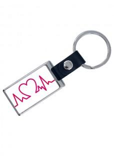 Porte-Clés de Luxe Heartbeat avec Nom Imprimé