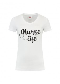 T-Shirt Femme Nurse Life Blanc