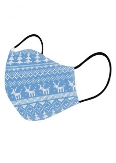 Masque en Tissu Symboles de Noël Bleu