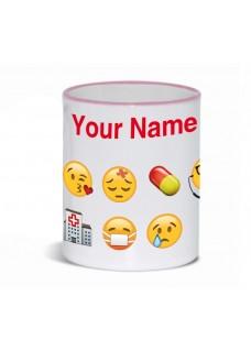 Tasse Emoji Nurse avec Nom Imprimé Rose