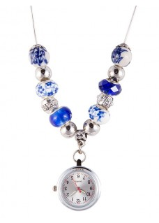 Collier Montre Perle Antique Bleu