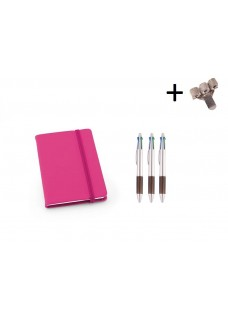 Set Cahier A6 + Stylos Rose