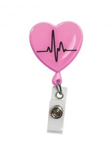 Porte Badge Enrouleur Cœur ECG Rose