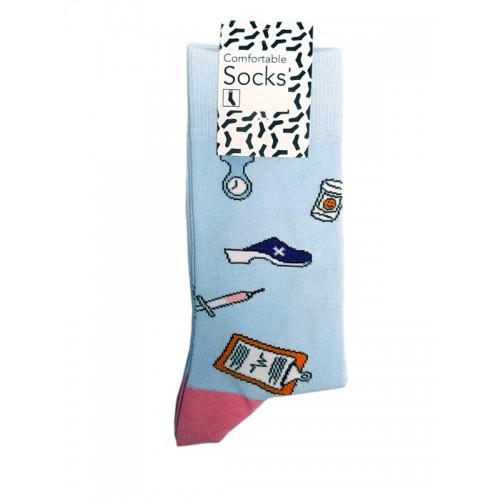 Chaussettes Happy Instruments Médicaux pour Femme Bleu Rose