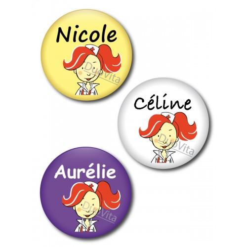 Badge Pins Infirmière Cheveux Roux