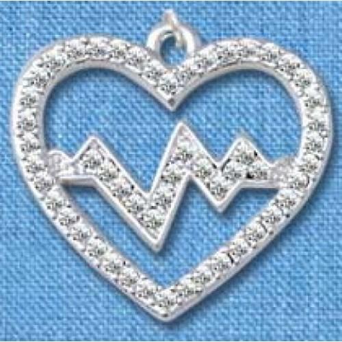 Pendentif Battement de Coeur Argent grand