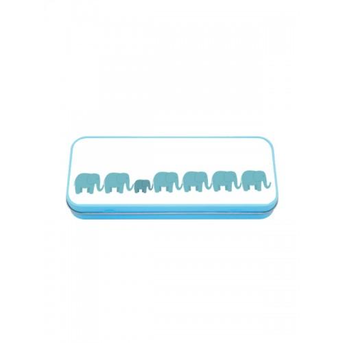 Trousse en Métal Bleu Éléphants