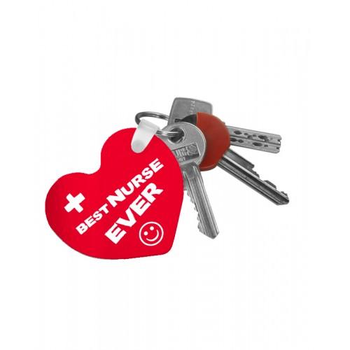 Porte-clés best nurse ever avec nom imprimé