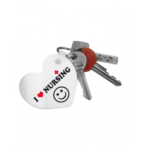 Porte-Clés Cœur Love Nursing avec Nom Imprimé