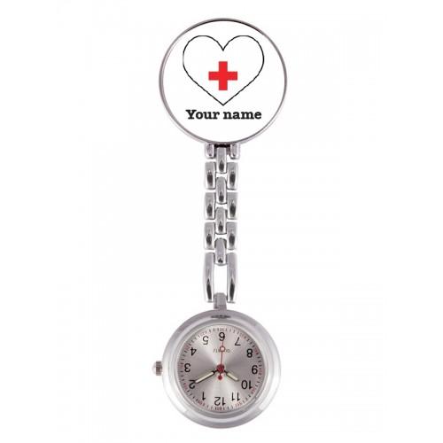 Montre Infirmière Coeur Blanc