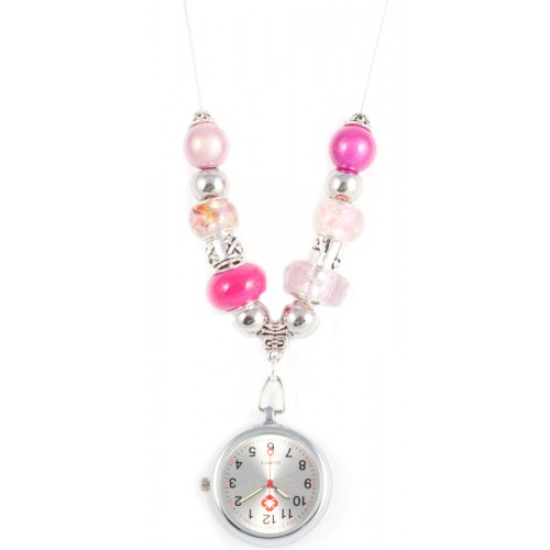 Collier Montre Perle Rose