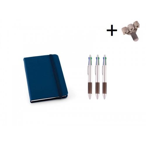 Set Cahier A6 + Stylos Bleu
