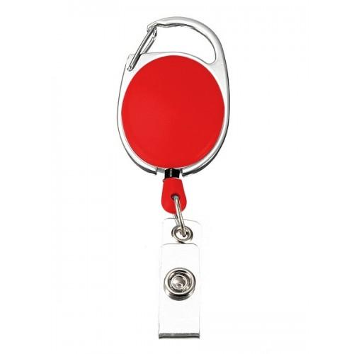 Porte Badge Enrouleur Mousqueton Rouge