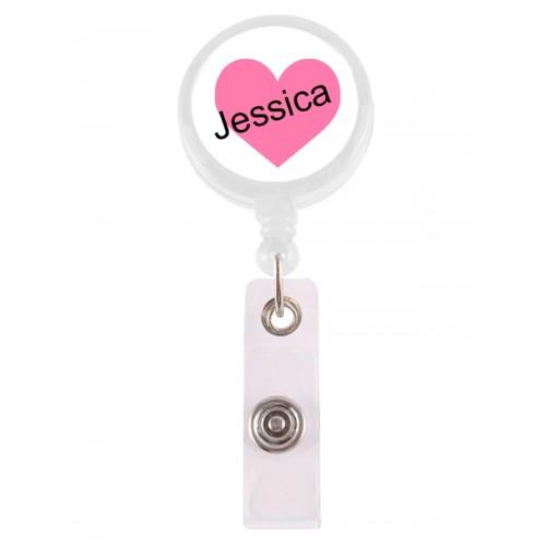 Porte Badge Enrouleur Coeur Rosé avec Nom Imprimé