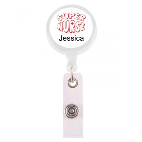 Porte Badge Enrouleur Super Nurse Rouge avec Nom Imprimé