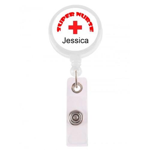 Porte Badge Enrouleur Super Nurse 1 avec Nom Imprimé