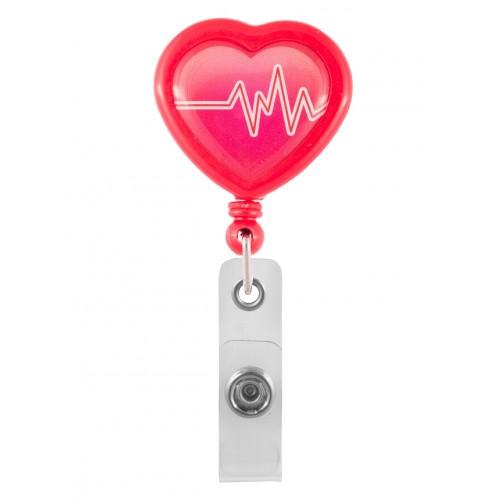 Porte Badge Enrouleur Cœur ECG