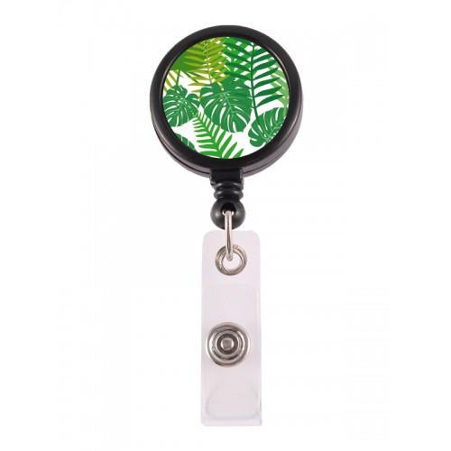 Porte Badge Enrouleur Feuilles tropicales