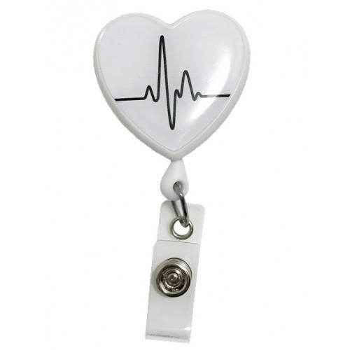 Porte Badge Enrouleur Cœur ECG Blanc